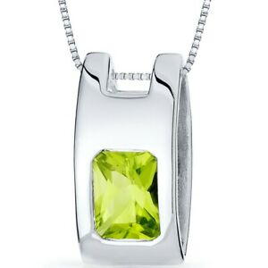 1.5 CT Radiant Green Peridot Sterling Silver Pendant
