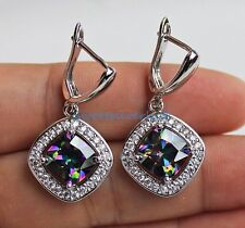 18K White Gold Filled - Hollow Square MYSTICAL Topaz Hoop Gemstone Earrings