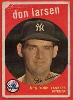1959 Topps #205 Don Larsen LOW GRADE FILLER CREASE  New York Yankees FREE S/H