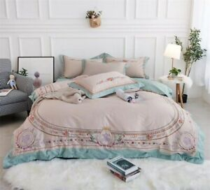 Luxury Embroidery Bedding Set Egyptian Cotton Duvet Cover Bed Set Pillowcase New