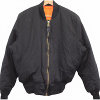 R14 Vintage Alpha Industries Bomber Black Jacket Full Zip Men's