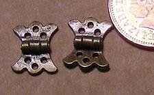 1:12 scala 2 ottone antico farfalla CERNIERE E SPILLE BAMBOLE CASA 1 cm x 1.2 cm