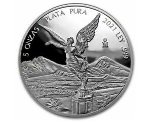 2021 5 oz Silver Mexican Libertad PROOF Coin .999 Fine Silver in Capsule #A360