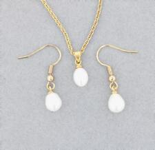 New Yellow Gold Plated Pearl Pendant Necklace and Earrings Set
