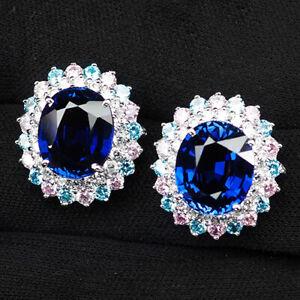 Sapphire Kashmir Blue Oval 17.10 Ct. 925 Sterling Silver Cluster Earrings Women