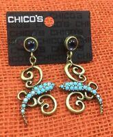 Chico/'s Earrings Heishe Aqua Pale Blue Silvertone Oblong Hoop Pierced Drop NWT