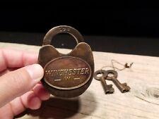 Antique Vintage Style Cast Iron Winchester Firearms Ammo Box Padlock Lock & Key