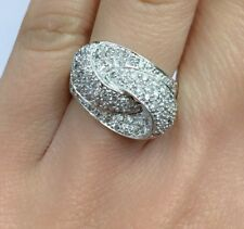 14k Solid White Gold Genius Diamond Pave Knot Cocktail Ring 1.50 Ct, Sz 6.75