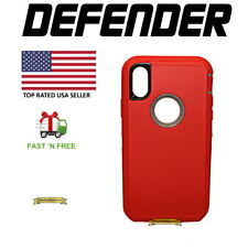 Apple iPhone X 10 Defender Case Cover Red (Belt Clip Fits Otterbox Defender)