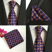 Men Navy Blue Orange Paisley Silk Tie Pocket Square Handkerchief Set Lot HZ076