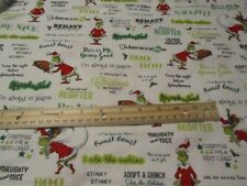 White With Grinch and Words Cotton Fabric BTY