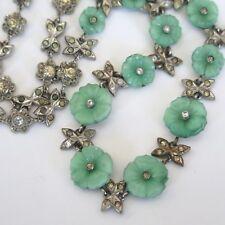 Vintage Art Deco Peking Jade Glass Flower Paste Necklace