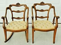 Matching Pair Antique/Vtg Carved Oak Tufted Corduroy Rocking Rocker & Arm Chair