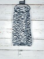 "DKNY Womens Fuzzy Zebra Print Knit Rectangle Scarf 64"" x 12"" Black White NEW"