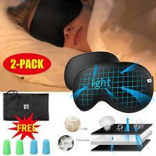 2 Pack Silk Eye Mask Travel Beauty Sleep Plane Sponge Cover Blindfold Blinder UK