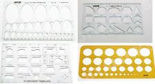 Set de 4 pochoirs modèles diagramme géométrie ellipse cercles dessin pochoir