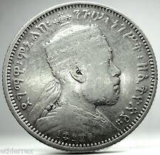 ETHIOPIA (Menelik II) Silver 1/4 Birr-1889