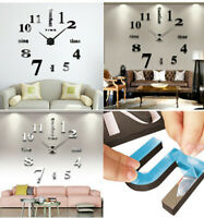 DIY Stickers 3D Wall Clock Large Size Mirror Surface Luxury Art Clock Home Decor