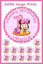 Minnie Mouse 1st Birthday 19cm PERSONALISED Cake topper PLUS 12 cupcake toppers