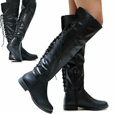 New Women BM9P Black Over the Knee Lace Up Biker Long Riding Boots Low Heel