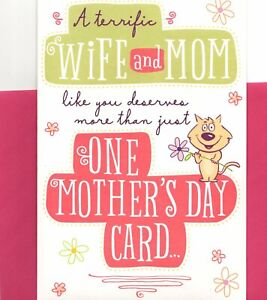 Happy Mother's Day A Terrific Wife & Mom Cat More Than One Card Hallmark Card