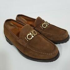 Salvatore Ferragamo Gancini Men's Size 7 EE Moccasin Brown Suede Shoes X1