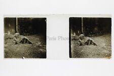 Chien Photo Amateur Plaque de verre stereo ca 1920