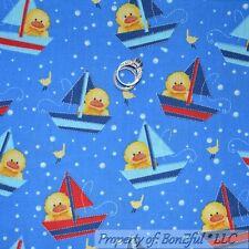 BonEful Fabric FQ Cotton Quilt Blue Yellow Duck Baby Bubble Sail Boat Bird Dot S