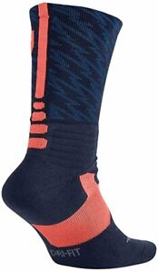 Nike  HYPER ELITE KD Crew Basketball Socks Navy, Mango LARGE (Men 8-12) 4972-410