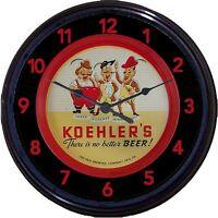 "Koehlers Beer Erie PA Tray Wall Clock Lager pilsner Jacksons New 10"""