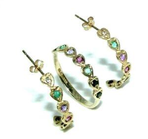 Ladies womens 9ct 9carat yellow gold coloured stone ring UK size Q & earring set