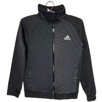 Adidas Boy's Sweatshirt Age 9-10 Years Black Full Zip Logo Sports Tracksuit Top