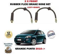 POUR FIAT GRANDE PUNTO 1.2 1.3D 10-> 2 X FREIN AVANT FLEXI TUYAU CAOUTCHOUC SET