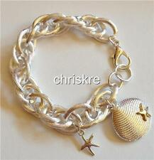 "Silver Gold Sea Life Charm Bracelet 8.5"" Shell Starfish Beach Plus Size Plated"
