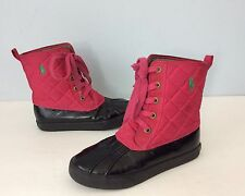 Polo Ralph Lauren Danika Boots Duck Boots Youth Sz 2 Pink Quilted Shaft