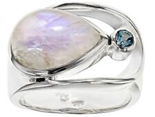 Artisan Gem Collection of India, Pear Shape Rainbow Moonstone & Blue Topaz Ring8