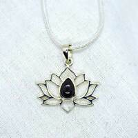 Lotus Flower Genuine Whitby Jet Sterling Silver Pendant~Grounding~Transformation