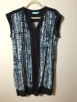 Blue Illusion Womens Blue Patterned Shift Dress Size XL Sleeveless Viscose