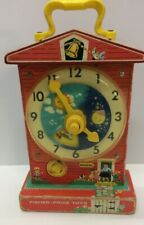 1968 Vintage Wind Up Music Teaching Clock Wooden Fisher Price Works