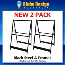2 PACK A Frame sign / Sandwich board / Aframe - Black steel 600x960mm-No inserts