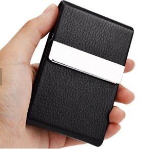 PU Leather Pocket Card Holder Metal Business ID Credit Card Holder Case Wallet