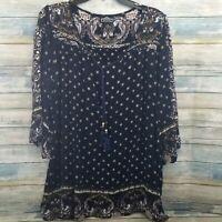 Angie Womens Top S Blue Paisley Peasant Boho Tunic Shirt Dress Blouse