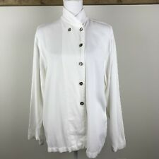 Gerties White Collarless Button Down Shirt Women Size L Large