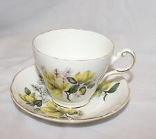 Regency English Bone China Porcelain 24K Gold Trim Cup and Saucer Yellow Flowers
