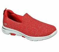 Slip On Skechers Shoes Red Go Walk 5 Women Casual Comfort Sporty Soft Mesh 15911
