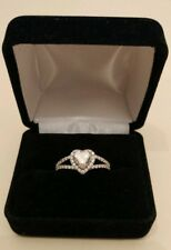 White Gold 14k size 7.5 to 7.75 Engagement ring Heart Shaped Cubic Zirconia Ring