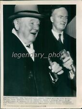 1952 Winston Churchill Smiles with Cigar for Press Original Wirephoto