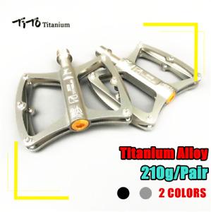 "TITO Ultralight 9/16"" Titanium Bicycle Pedals Mtb Bearing Road Bike Flat Pedals"