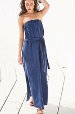 NEXT BLUE DENIM PRINT BANDEAU STRAPLESS MAXI DRESS SIZE 20 TALL BNWT
