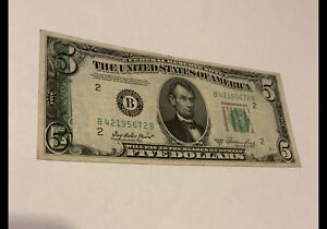 1950 $5 Federal Reserve Note w/ Reverse Printing on Obverse of Note Error